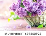 Lilac Flowers Bunch In A Baske...