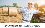 smiling farmer at work in his... | Shutterstock . vector #639867007