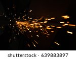 bright blue and yellow sparks... | Shutterstock . vector #639883897