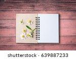 top view image of open notebook ... | Shutterstock . vector #639887233