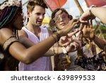 friends making hands as peace... | Shutterstock . vector #639899533