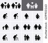 elder and family icons. old... | Shutterstock .eps vector #639903163