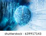 3d rendering of human  brain on ... | Shutterstock . vector #639917143