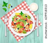 bowl of salad with vegetables... | Shutterstock .eps vector #639918313