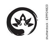 yoga lotus with zen circle logo ... | Shutterstock .eps vector #639924823