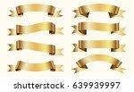 set of golden ribbons on beige... | Shutterstock .eps vector #639939997