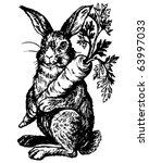 Rabbit Holding Carrot   Retro...
