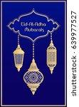 eid al adha mubarak greeting... | Shutterstock .eps vector #639977527