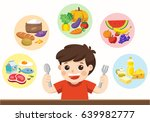 a cute boy with the five food... | Shutterstock .eps vector #639982777