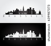 brussels skyline and landmarks... | Shutterstock .eps vector #639987373
