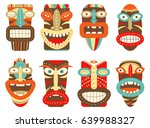 collection of tiki tribal mask. ... | Shutterstock .eps vector #639988327
