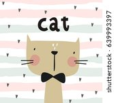cute card with cat | Shutterstock .eps vector #639993397