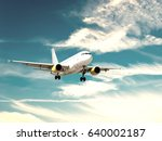 airplane during landing. | Shutterstock . vector #640002187