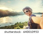 young woman traveler in... | Shutterstock . vector #640010953