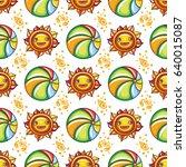 vector summer pattern. seamless ... | Shutterstock .eps vector #640015087