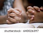 two little girl hands folded in ... | Shutterstock . vector #640026397