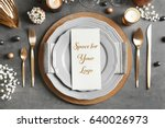 elegant table setting and card... | Shutterstock . vector #640026973
