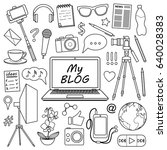 my blog object set. vector... | Shutterstock .eps vector #640028383