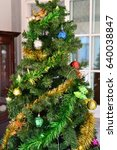 decorated christmas tree and... | Shutterstock . vector #640038847