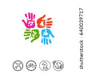 four colorful handprints icon | Shutterstock .eps vector #640039717