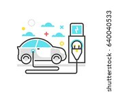 color box icon  electric car... | Shutterstock .eps vector #640040533