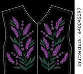 embroidery stitches with violet ... | Shutterstock .eps vector #640042297