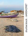 near sandy beach sky      and... | Shutterstock . vector #640042987