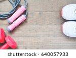 sport equipments with sport... | Shutterstock . vector #640057933