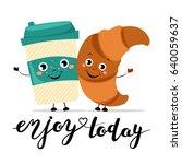 funny cartoon comic coffee cup... | Shutterstock .eps vector #640059637