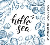 blue vector card with seashells ... | Shutterstock .eps vector #640061407