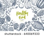 healthy food collection. good... | Shutterstock .eps vector #640069333