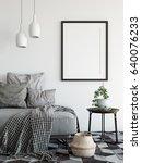 mock up posters in living room... | Shutterstock . vector #640076233