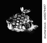 honeycomb with honey   Shutterstock . vector #640079497