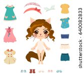 cute cat girl with her clothes. ... | Shutterstock .eps vector #640082833