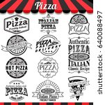 pizzeria menu vintage design... | Shutterstock . vector #640088497