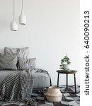 mock up wall interior.... | Shutterstock . vector #640090213