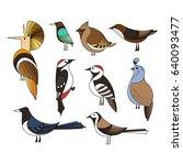 birds set. lined vector... | Shutterstock .eps vector #640093477