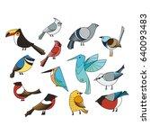 birds set. lined vector... | Shutterstock .eps vector #640093483