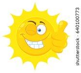 smiling yellow sun cartoon... | Shutterstock .eps vector #640100773