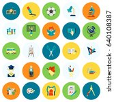 school and education icon set.... | Shutterstock .eps vector #640108387