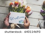 hand holding show get well soon ... | Shutterstock . vector #640114693