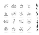 camping vector line icons ... | Shutterstock .eps vector #640115377