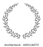 hand drawn wreath with leaves ... | Shutterstock . vector #640116073