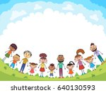 children are jumping on the... | Shutterstock .eps vector #640130593