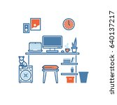 workplace or studying place... | Shutterstock .eps vector #640137217