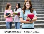 group of happy teen high school ... | Shutterstock . vector #640142263