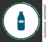 milk bottle. flat simple blue... | Shutterstock . vector #640150687