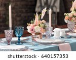 flower table decorations for... | Shutterstock . vector #640157353