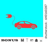 electric car icon flat. red...