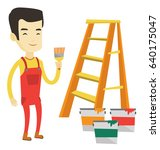 asian house painter holding a... | Shutterstock .eps vector #640175047